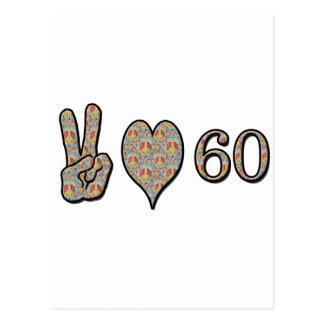 Amor 60 de la paz tarjetas postales