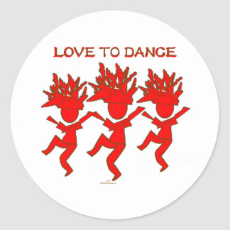 Amor a bailar pegatina redonda