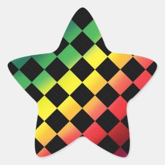 Amor a cuadros del arco iris pegatina en forma de estrella