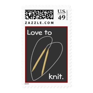 Amor a hacer punto timbre postal