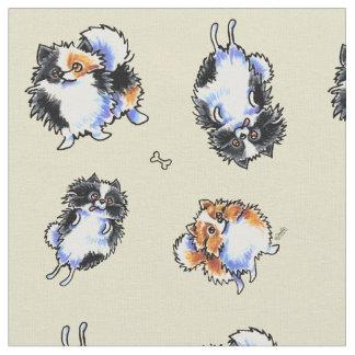 Amor a la arena de Parti Pomeranians Telas