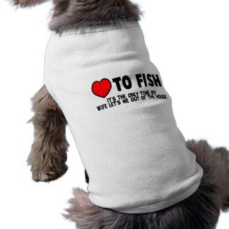 Amor a los pescados playera sin mangas para perro