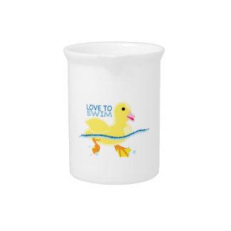 Amor a nadar jarra de beber