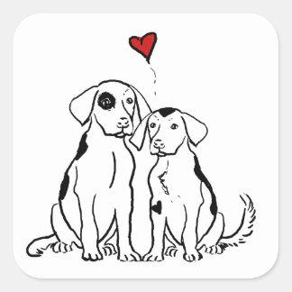 Amor adolescente de dos perros calcomanía cuadrada personalizada