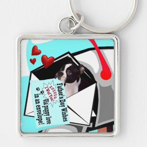 Amor adolescente en un llavero Boston Terrier del