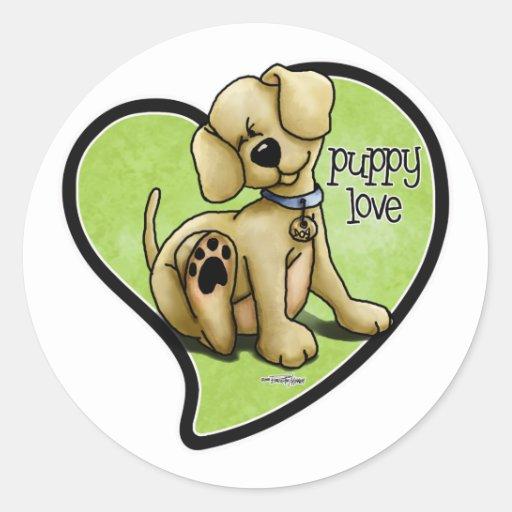 Amor adolescente - pegatinas del perro pegatina redonda