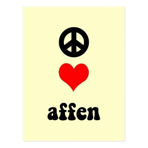 amor Affen de la paz Tarjeta Postal