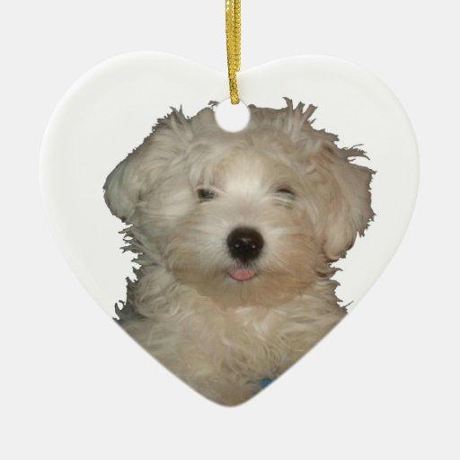Amor afortunado del perrito adorno navideño de cerámica en forma de corazón