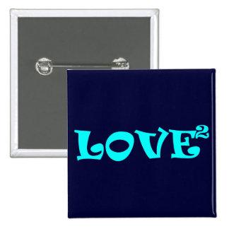 Amor ajustado en azul claro pin cuadrado