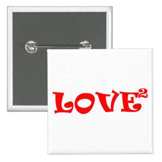Amor ajustado en rojo pin cuadrado