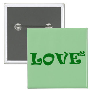 Amor ajustado en verde pin cuadrado