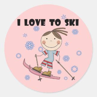 Amor al esquí - camisetas y regalos del chica pegatinas redondas