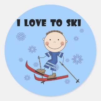 Amor al esquí - camisetas y regalos del muchacho pegatina redonda