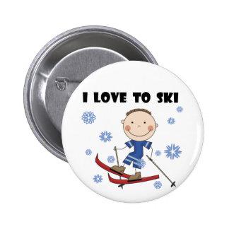 Amor al esquí - camisetas y regalos del muchacho pin redondo de 2 pulgadas