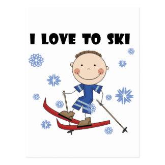 Amor al esquí - camisetas y regalos del muchacho postales