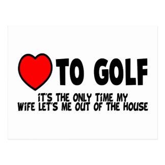 Amor al golf postales