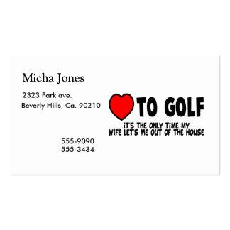 Amor al golf tarjetas de visita