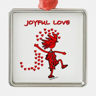 Amor alegre adorno navideño cuadrado de metal