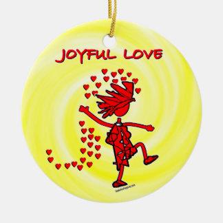 Amor alegre adorno navideño redondo de cerámica