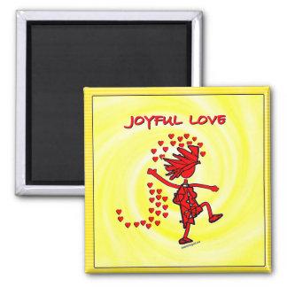 Amor alegre imán cuadrado