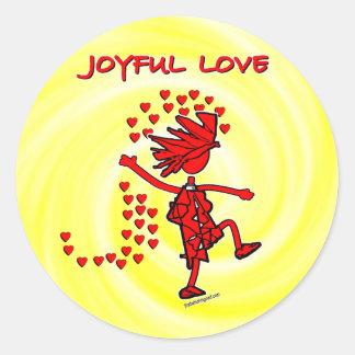 Amor alegre pegatina redonda