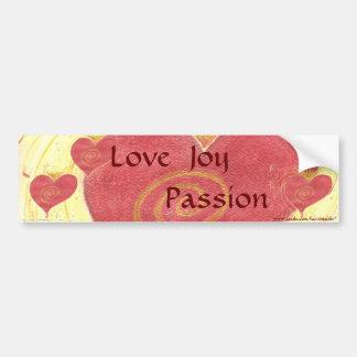 Amor, alegría, pasión pegatina para auto