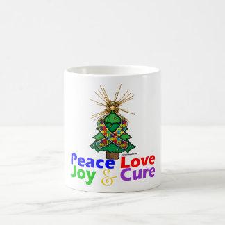 Amor alegría y curación de la paz del navidad de taza