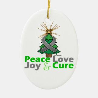 Amor, alegría y curación grises de la paz del adorno navideño ovalado de cerámica