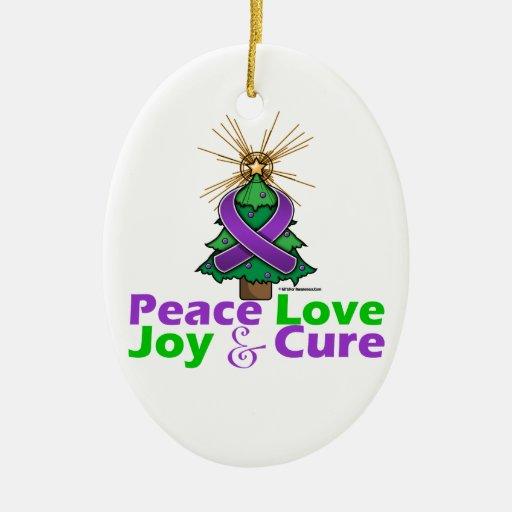 Amor, alegría y curación púrpuras de la paz del na ornamento de navidad