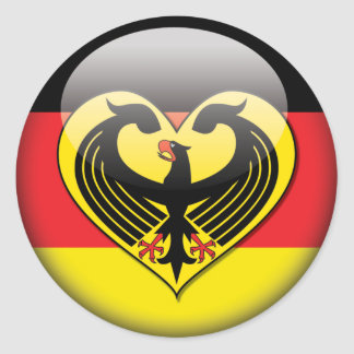 Amor alemán de la bandera pegatina redonda