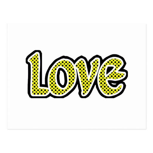 Amor amarillo de Polkadot Tarjeta Postal