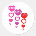 Amor, amor, amor etiqueta redonda