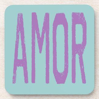 AMOR (amor en español) en púrpura Posavaso