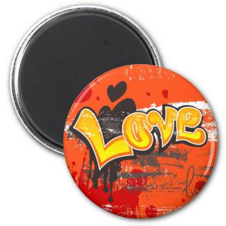 Amor anaranjado imán redondo 5 cm