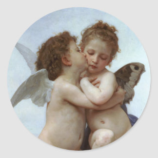 Amor and Psyche as Children /Angels First Kiss Classic Round Sticker