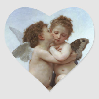 Amor and Psyche as Children /Angels First Kiss Heart Sticker