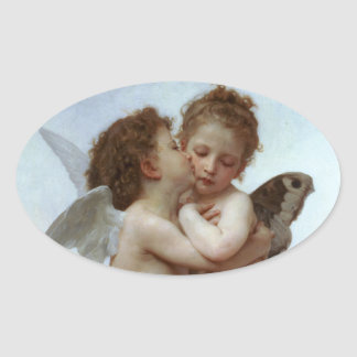 Amor and Psyche as Children /Angels First Kiss Oval Sticker