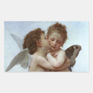 Amor and Psyche as Children /Angels First Kiss Rectangular Sticker