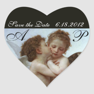 Amor and Psyche as Children Wedding Party Monogram Heart Sticker