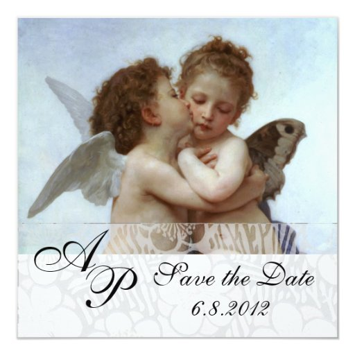 Amor and Psyche as Children Wedding Party Monogram Invitations