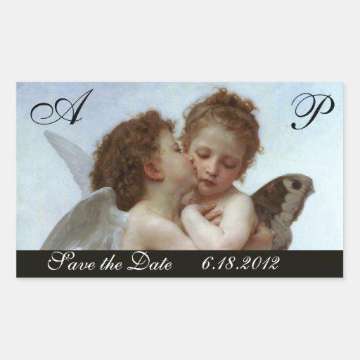 Amor and Psyche as Children Wedding Party Monogram Rectangular Sticker