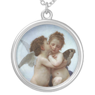 Amor and Psyche Silver Plated Necklace