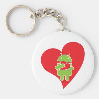 Amor androide llavero redondo tipo pin