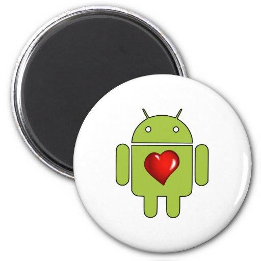 Amor androide (verde) iman de frigorífico