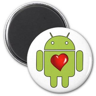 Amor androide (verde) imán redondo 5 cm