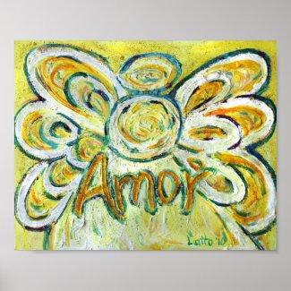 Amor Angel Inspirational Word Art Print Poster