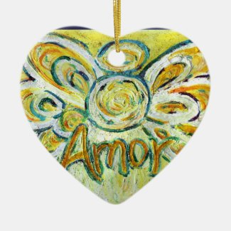 "Amor Angel Word (Spanish ""Love"") Holiday Ornament"