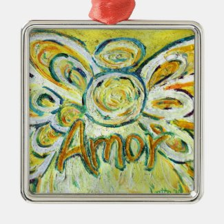 "Amor Angel Word (Spanish ""Love"") Holiday Ornaments"