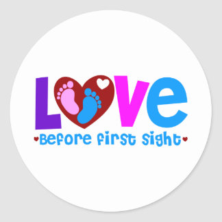 Amor antes de la primera vista pegatina redonda