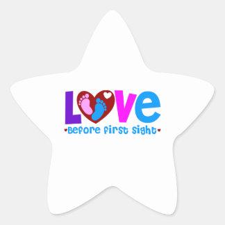 Amor antes de la primera vista pegatina en forma de estrella